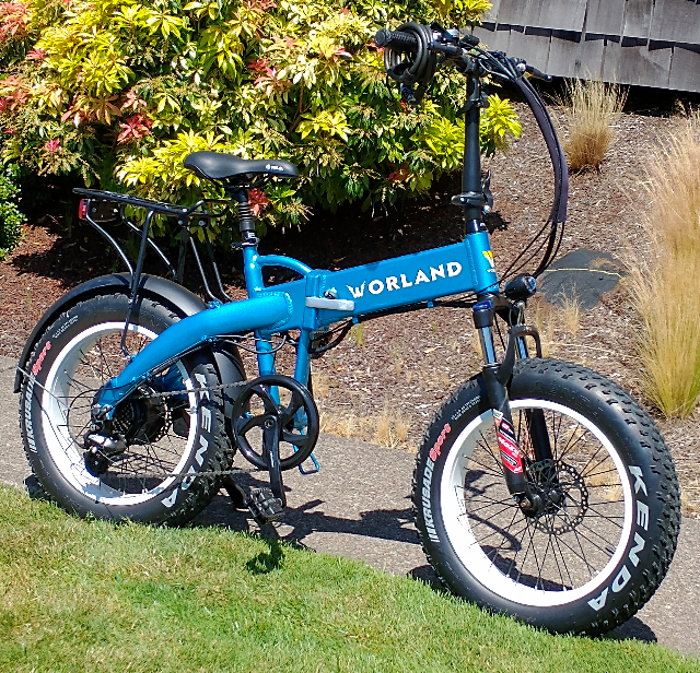 Worland Blue Folding Electric Bicycle